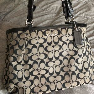 Coach Signature Monogram Tote Handbag Bag Purse